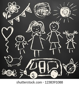 Children's drawings. Elements for the design of postcards, backgrounds, packaging. Chalk on a blackboard. Family, sun, ball, dog, car, cat