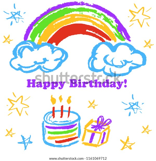 Stupendous Childrens Drawings Greeting Card Flyer Banner Stock Vector Personalised Birthday Cards Bromeletsinfo