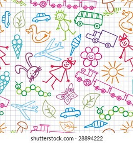Children's drawings. Vector background.