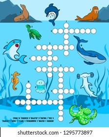 Children's educational game crossword. Sea world: Dolphin, walrus, seal, turtle, shark, whale, seahorse, jellyfish, fish hammer, octopus. Vector