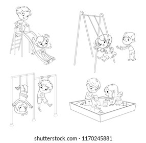Children's entertainment complex with stairs and slides in recreation park.Kids train on horizontal bars. Girl swinging on a swing. Playground. Kids zone. Place for games. Funny cartoon character