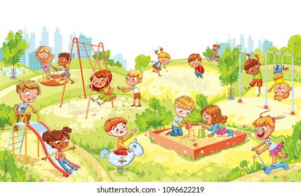 Children's entertainment complex with swing, sandbox, carousel and slides in recreation park. Children playing in playground. Kids zone. Place for games. Funny cartoon characters. Vector illustration