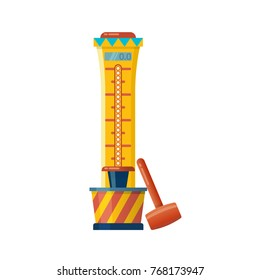 Children's entertainment playground, recreation park. Place for children's games. Playing fair strength test game. Attraction for measuring strength. Amusement park. Vector flat illustration.
