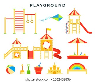 Children's entertainment playground with sandbox, slide, horizontal bar, ladder, swing, toys. Children's game place. Collection of colorful flat style elements. Vector illustration.