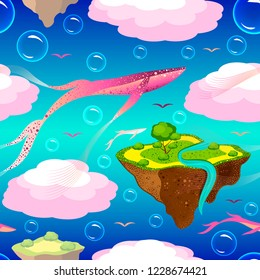 Childrens fantastic pattern. Flying islands and pink whales. Islands, whales, birds, bubbles fly or float in the sky. On the islands of grass, a tree, a river. Purple blue background