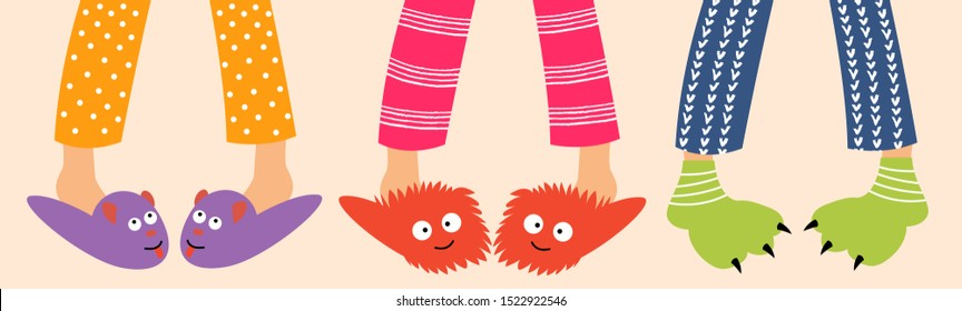 Children's feet in funny slippers. Children in pajamas spend the night with friends. Pajama party. Vector editable illustration