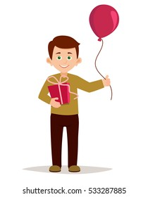 Children's festival. Cartoon boy holding gift box and a balloon. congratulations on the birthday, new year, mothers day. Holiday background. vector illustration isolated on white background