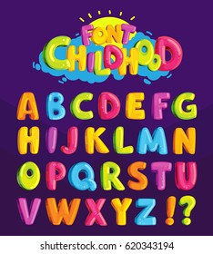 "Children's font in the cartoon style of ""childhood."" Set of multicolored bright letters for inscriptions. Vector illustration of an alphabet."