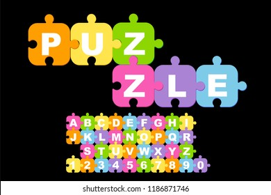 Children's font in the cartoon style. Colorful Background Puzzle. Jigsaw Puzzle Banner. Alphabet Vector Illustration. Abstract Puzzle Background. Puzzle Game, Mosaic. Type letters, numbers.