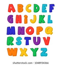 Children's font in the cartoon style. Set of bright colorful letters. Vector illustration of English letters for kids. Isolated alphabets from A to Z.