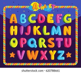 Children's font in the cartoon style. Set of multicolored bright letters for inscriptions. Vector illustration of an alphabet.