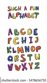 Children's font. Set of multicolored bright letters for inscriptions. Lettering font isolated on white background. The Typeface handwritten alphabet: Logo, for Poster, Invitation, Card, etc