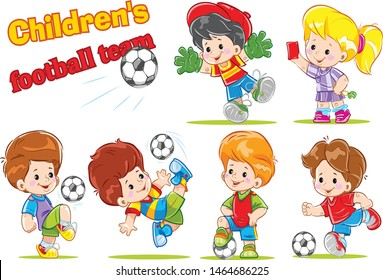 Children's football (soccer) team. High-quality set of vector (isolated) children's football characters.