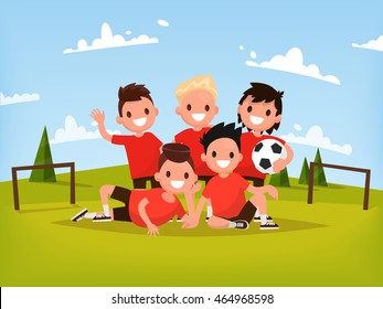 Children's football team. Boys playing football outdoors. Vector illustration of a flat design