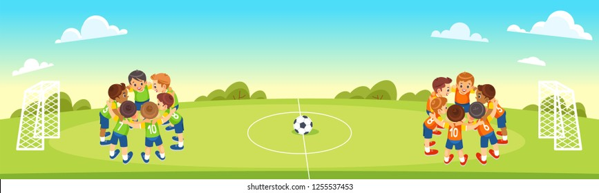 Children's Football Team on the Pitch. Boys in green and orange Soccer Kits Standing Together on the Football Field. Motivated Young soccer players. Vector cartoon illustration.