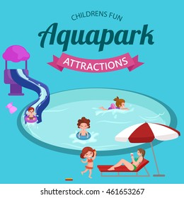 childrens fun in summing water park, pools and slides in aquapark for happy active lifestyle kids vacation, extreme holiday aqua ride in swimmingpool, indoor resort with pipe attraction vector  - Shutterstock ID 461653267