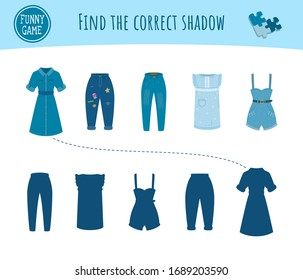 Children's funny game with task to Find the correct shadow from things. Modern denim women clothing and its silhouettes. Casual dresses, jeans and overalls. Pastime, development and training of kids.