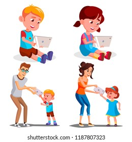 Children's Gadget Dependence Vector. Father, Mother Takes Smartphone From Daughter. Internet Addiction. Modern Technologies. Isolated Cartoon Illustration