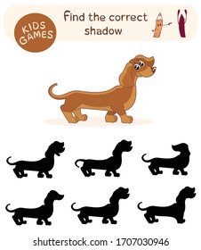 Children`s game - find the correct shadow. Vector illustration of cute cartoon dachshund.