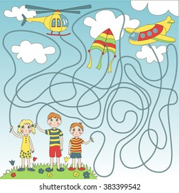 Children's game (maze): children start in the sky plane, helicopter and  kite. Developing game for children. The picture shows boy, girl, plane, helicopter, kite, sky, clouds.