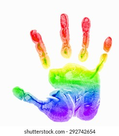 children's handprint, rainbow watercolor