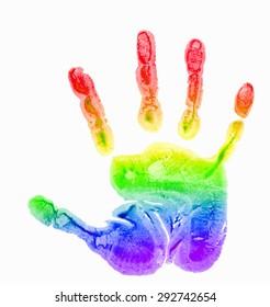 children's handprint, rainbow watercolor