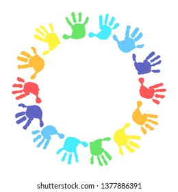 Children's hands, circle, kid handprint, baby palms, watercolor. 14 hand print in rainbow colors. Round frame on a white background.