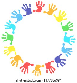 Children's hands, circle,  kid handprint, baby palms, watercolor. Round frame on a white background. 16 hand print in rainbow colors.