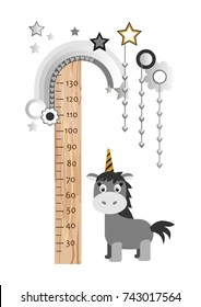 children's height chart with a unicorn