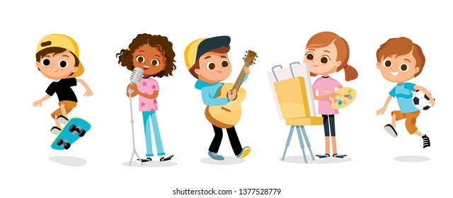 Children's hobbies. Kids with objects. Creative and active school kids.