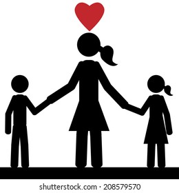 Childrens are holding hands with the mother. It is a stick figure vector. EPS 10