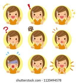 Children's icon set. / Girl 's icon.