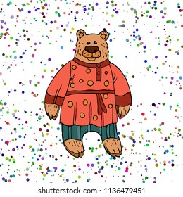 Children's illustration of a bear, a Character of Russian folk tales. Animated bear in folk clothes for printing on t-shirt, flyer, poster, cover, book printed on fabric. Hand drawing in cartoon style