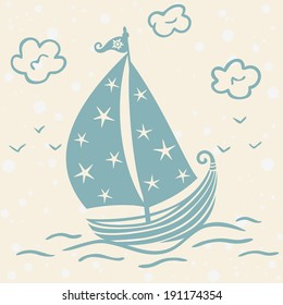 children's illustration beautiful silhouette of a travel ship