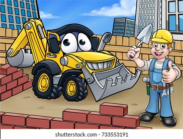 Childrens illustration of a cartoon construction building site scene with builder and excavator or digger vehicle