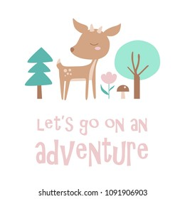 Children's Illustration with cute deer in the woods. Creative kids illustration for fabric, cards, textile, apparel. Vector illustration.