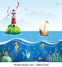 Children's illustration with lighthouse and sailboat. On the sea floor, and funny fish