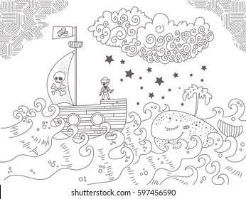 Children's illustration with pirate ship, sea and whale. Black illustration on white background.  Zentangle style. Coloring book for kids, antistress coloring pages. Hand drawn vector isolated. Sketch