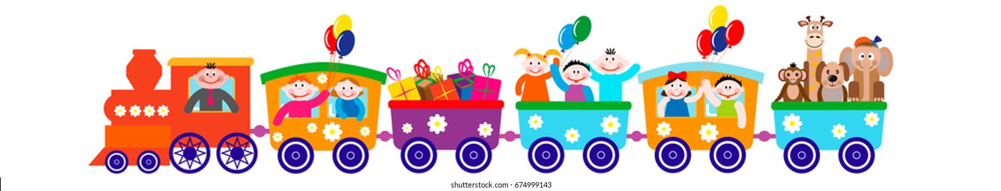 Children's illustration, a train with carriages, with children, gifts, animals.
