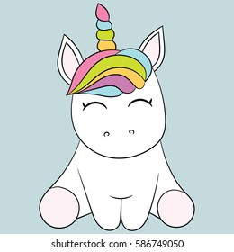 Children's illustration with a unicorn. Best Choice for cards, invitations, printing, party packs, blog backgrounds, paper craft, party invitations, digital scrapbooking.