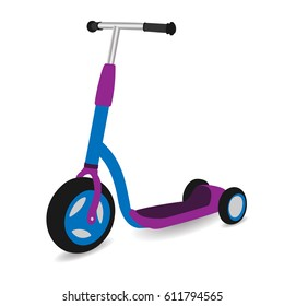 children's kick scooter in cartoon style, vector illustration