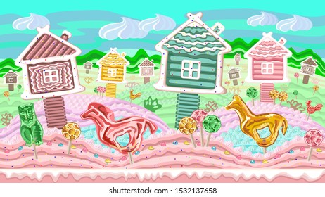 Children's landscape with different sweets. This fabulous illustration is suitable for 2D web games, design, graphics, print, web, magazine, book.