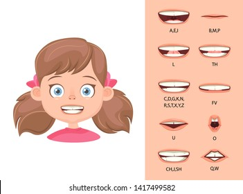 Children's lip sync. Lip sync collection for animation. Children's mouth animation. Phoneme mouth chart. Alphabet pronunciation. Vector illustration.