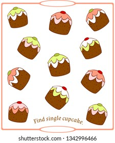 """Children's logical game """"Find single item."""" Delicious cupcakes. Vector."""