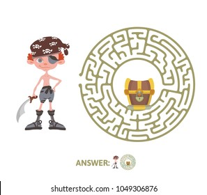 Children's maze with pirate and treasure. Cute puzzle game for kids, vector labyrinth illustration.