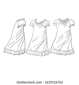 Children's nightgown for girls.Side view, front View, back View.For children's coloring pages or your design.Vector illustration on a white background