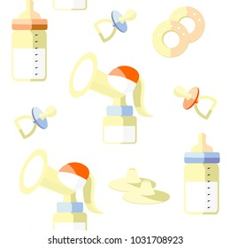 Children's pacifiers, bottles with teat, breast pump, nipple shields, nipple formers, breast pads on a white background. Seamless pattern in swatch panel.