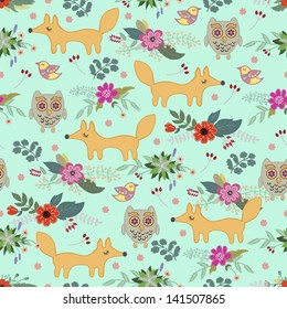 children's pattern with animals and flowers