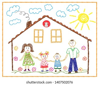 Children's pencil drawing on the tum family, home, friendship, love. Vector illustration