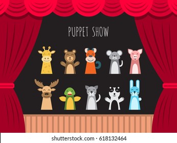 Childrens performance in the puppet show at the theater with price, curtain and scenery.